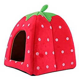 Super Soft Pet Dog Cat Indoor Sleeping Bag Rabbit Bed House Kennel 2 in 1 Pet House Sofa Sleeping Bed Pet Lovely Strawberry Cave Bed (Red, Large)