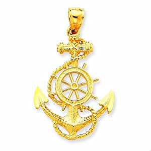 14k Large Anchor with Wheel Pendant
