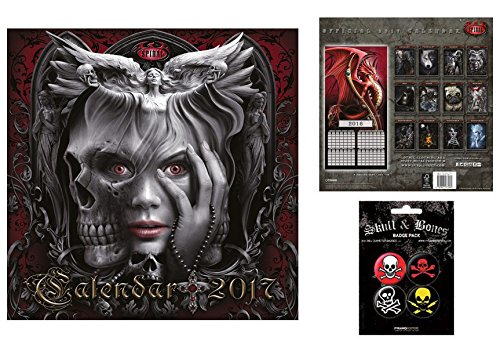 Set: Gothic, Spiral, Creature Sinistre, Calendario Ufficiale 2017 (30x30 cm) E 1x Set Di Badge (15x10 cm)