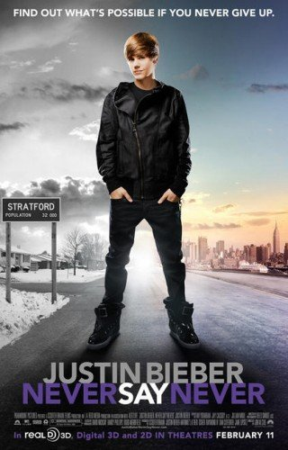 JUSTIN BIEBER NEVER SAY NEVER 13.5x20 INCH PROMO MOVIE POSTER