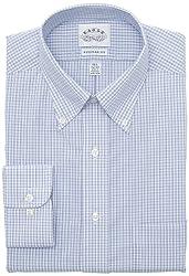 Eagle Mens Regular Fit Non Iron Windowpane Check Dress Shirt, Blue, 15.5/34-35