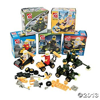 6 Mini BUILDING Block Vehicle Sets/RACE Car/JEEP/Construction, etc/Party FAVOR/STOCKING STUFFERS/Motor Skills - 1