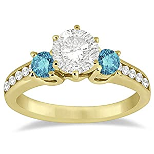 Three Stone White and Blue Diamond Engagement Ring Setting 14K Yellow Gold (0.45 ctw)