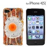 [Softbank iPhone 4S/4専用]食品サンプル愛飯4S/4カバー(ベーコンエッグ)【ストラップヤのオリジナル!!愛飯シリーズ】