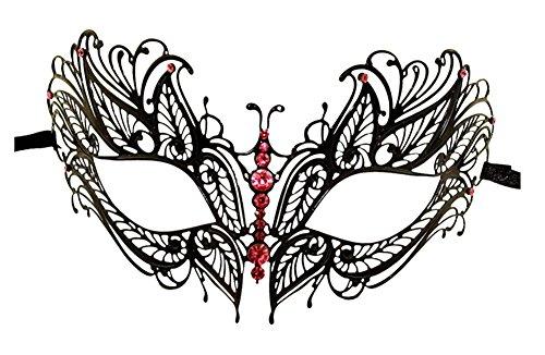 Luxury Mask Women's Laser Cut Metal Venetian Butterfly Design Metal Mask, Black/Pink Stones, One Size