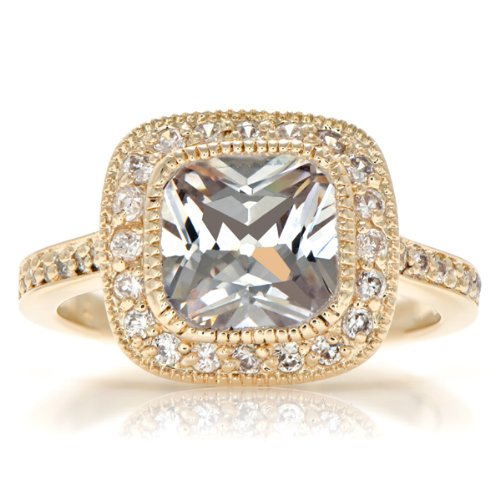 Gina's Vintage Style Cushion Cut CZ Engagement Ring - Gold Plated