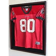 Buy XXL Football Baseball Hockey Uniform Jersey Display Case Shadow box frame,UV Protection Door, Built-in LOCK-Mahogany... by NULL