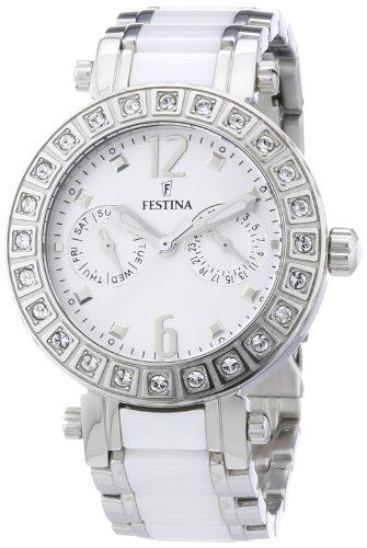 Festina F16587/1 - Reloj analógico de pulsera para mujer (mecanismo de cuarzo, esfera blanca y correa de acero inoxidable blanco)