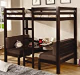Twin Size Convertible Loft Bed in Dark Wood Finish