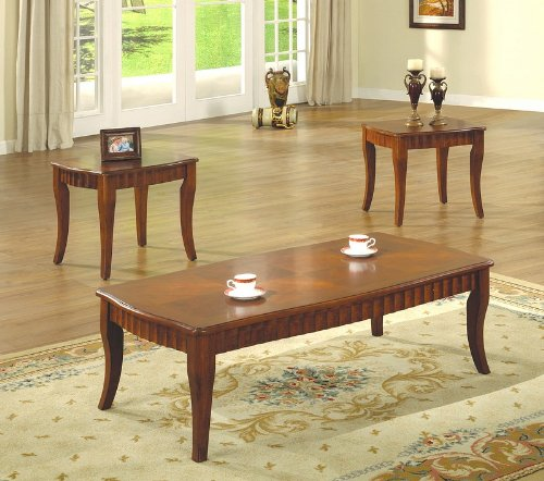 3Pcs Contemporary Cherry Finish Coffee & End Table Set