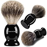 Perfecto 100% Pure Badger Shaving Brush With Black Handle-Engineered to deliver the Best Shave of Your Life!!! No Matter what method you use, Safety Razor, Double Edge Razor, Staight Razor or Shaving Razor, This is the Best Badger Brush!!!