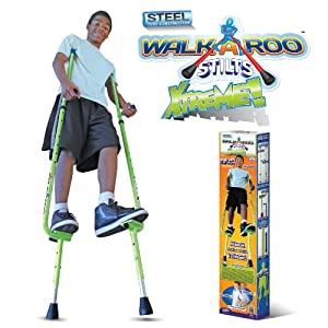 Walkaroo Xtreme Steel Balance Stilts with Height Adjustable Vert Lifters by Air Kicks, Green by Geospace
