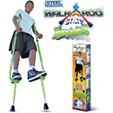 Walkaroo Xtreme Steel Balance Stilts with Height Adjustable Vert Lifters by Air Kicks, Assorted Colors (Red or Green)