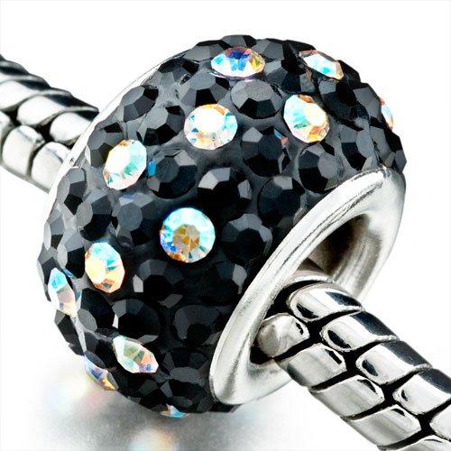 Pugster Clear Crystal Black Crystal Shine European Beads Fits Pandora Charm Bracelet