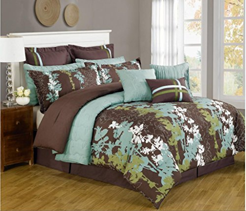 12 Pc. Teal, Green, Brown And White Floral Print Comforter Set With Quilt Included. Queen Size front-1043517