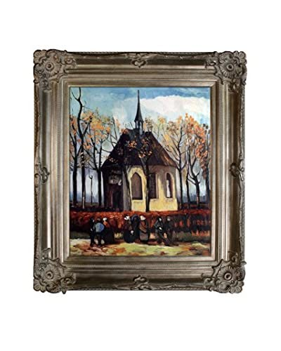 """Vincent van Gogh """"Congregation Leaving the Reformed Church in Nuenen"""" Framed Hand-Painted ..."""