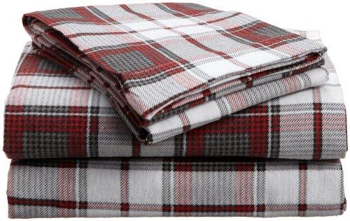 divatex 100 percent cotton flannel cal king sheet set red black plaid new ebay. Black Bedroom Furniture Sets. Home Design Ideas