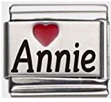 Annie Red Heart Laser Name Italian Charm Link