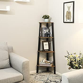 SONGMICS 4-Tier Corner Shelf Rack and Office Organizer Unit Ladder Shaped Bookcase for Home Study Garden Shelf Vintage ULLS34X