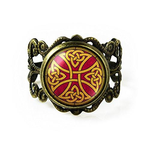 Antique Bronze Irish Celtic Knot Cross Filigree Ring