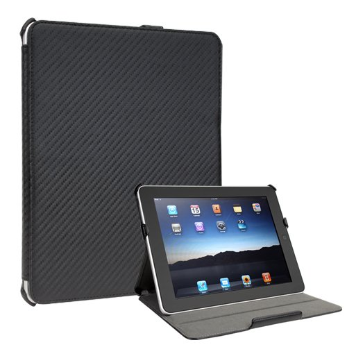Vico: Carbon Fiber Look iPad 1 Case (Folio Convertable Case Multi-angle Stand For The Original Apple iPad 1)