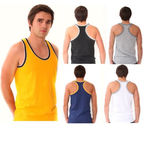 6 x Mens Coloured 100% Cotton Fitted Ultra Rib Muscle Gym Top Vest Singlets Size:Large Main Colours:Assorted