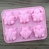 Daily Proposal USA 6 Cavity Silicone Mold Cat Bear Elephant Frog Dog Bunny with Heart Love Hugs Bakewear Soap Making Chocolate Cake Candy Ice (Color: Red)