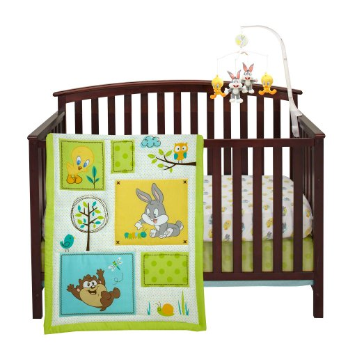 Looney tunes natures fantasy 3 piece crib set by nojo for Best value baby crib