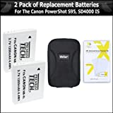 2 Pack Of Replacement Batteries For Canon NB-6LH NB-6L 1200MAH Each + Deluxe Hard Case + Free Pack Of LCD Screen...