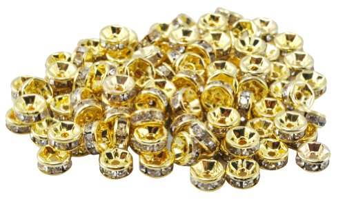 100 Pieces 6mm Crystal White Gold Plated Crystal