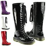 LADIES VINTAGE LACE UP ZIP PATENT WOMENS KNEE HIGH BOOTS PUNK COMBAT SIZE 3-8