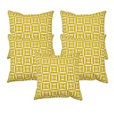 Khrysanthemum Oxford Cotton Geometrical Print Square And Circle Cushion Cover (Set Of 5) - 16 x 16 inches, Multi