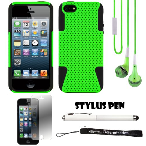 Green Fusion Dual Layer Hybrid Protector Case For Apple Iphone 5 Ios (6) Smart Phone + Green Crystal Clear High Quality Hd Noise Filter Handsfree Earbuds ( 3.5Mm Jack ) + Apple Iphone 5 Screen Protector + Professor Pen 3 In 1 Red Laser Pointer / Led White