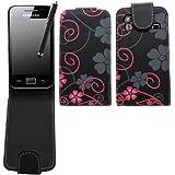 Samrick Floral Flowers �tui � rabat en cuir pour Samsung S5830 Galaxy Ace et Hugo Boss avec film protecteur d'�cran, chiffon microfibre et stylet haute sensibilit� Noir et rose