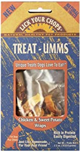 Lick Your Chops Treat-Umms Chicken & Sweet Potato Wraps Treats for Dogs, 2.5-Ounce Boxes (Pack of 6)