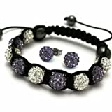 Seasons Online Parma Violet Shamballa Bracelet & Earrings Set