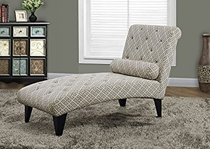 """SANDSTONE / GREY """" MAZE """" FABRIC CHAISE LOUNGER (SIZE: 64L X 28W X 36H)"""