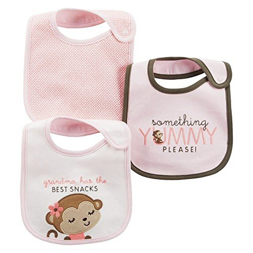 Carter's Girls' Grandma Has the Best Snacks Monkey 3 Pack Bib Set - 1