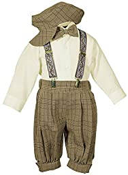 Bowtie,Suspenders,Knickers Outfit Set for Baby Boys & Toddler, Brown Plaid 4T