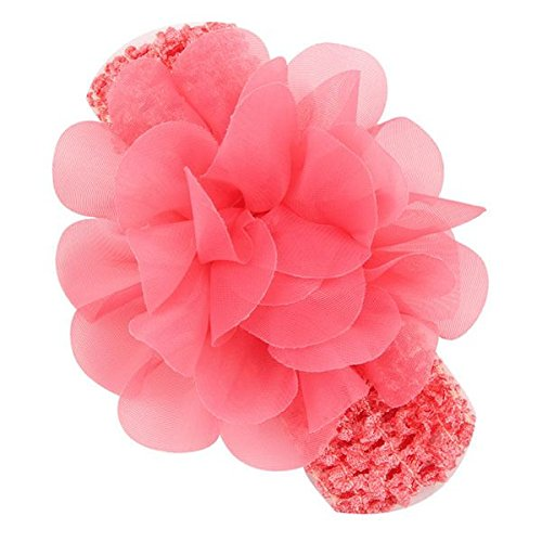 BELLAZAARA Baby Girl Fushia Pink Chiffon Flower With Elastic crochet headband