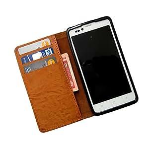 i-KitPit PU Leather Wallet Flip Case for Lenovo S820 (BROWN)