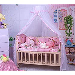 CdyBox Breathable Baby Bed Canopy Toddler Sleeping Dome Mosquito Net Crib Netting Palace-style Lace Décor (Pink)