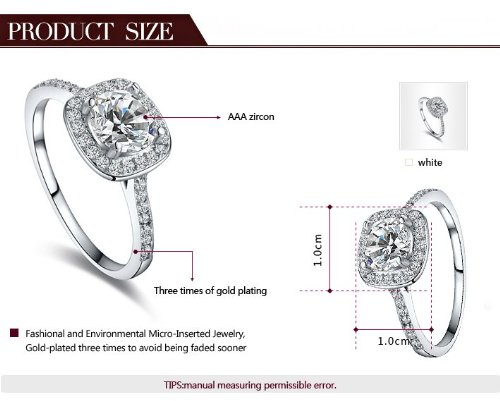 Eternity Love Women's Gold Plated Princess Cut CZ Crystal Engagement Rings Best Promise Rings Anniversary Wedding Bands for Lady Girl, White Gold , 5