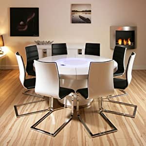 Large Round White Gloss Dining Table 8 White Black