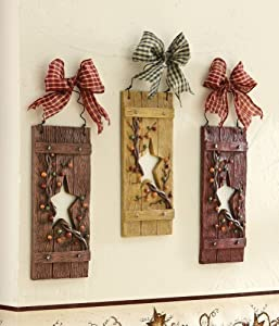 Collections etc primitive country star hanging wall decor wall pediments - Country wall decor ideas ...