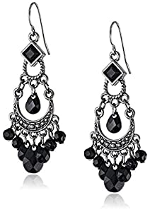 1928 Jewelry Jet and Onyx-Colored Crescent Chandelier Earrings