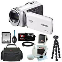 "Samsung HMX-F90 5MP 1280x720 30p HD Camcorder in White + 32GB Secure Digital Memory Card + Deluxe SLR Soft Photo & Video Medium Case w/ Shoulder Strap & 2 Dividers + Memory Card Wallet + 5 Piece Cleaning Kit + Vivitar 7"" Mini Flexible Spider Tripod + Micr"