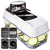 Mandoline Slicer Spiralizer Vegetable Slicer - Veggie Slicer Mandoline Food Slicer with Julienne Grater - V Slicer Mandoline Cutter - Vegetable Cutter Zoodle Maker - Vegetable Spiralizer. (Color: Black)