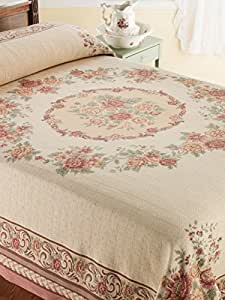 The Vermont Country Store Home Old World Tapestry Bedspread Queen Pink Floral