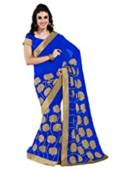MemSahiba Women Chiffon Saree With Embroidery Blue